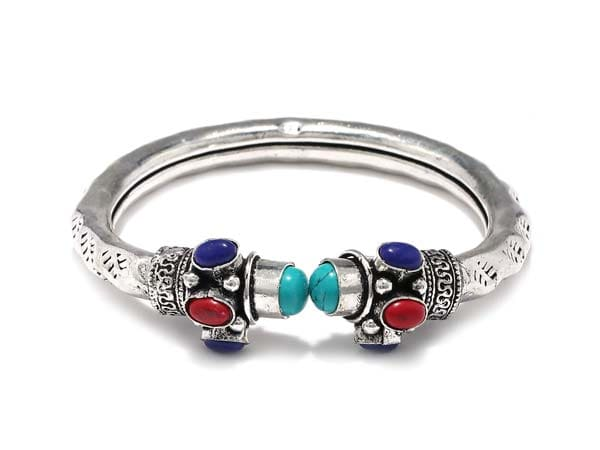 Silver Oxidised Kada Bangles Fabstreet German Silver Assorted Multicolor Stone Tribal Kada Bangle 1556010980495