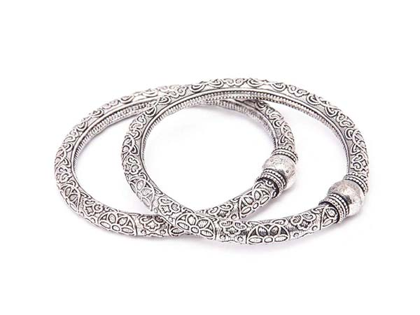 Silver Oxidised Kada Bangles Rubans Oxidised Silver Plated Handcrafted Traditional Set of 2 Bangle Set 1556011027540