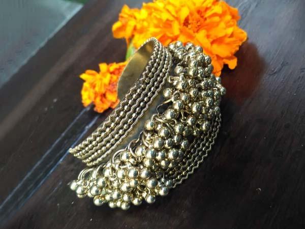 Silver Oxidised Kada Bangles Saissa Oxidized Ghungroo Kada Bangle Bracelet 1556006911622