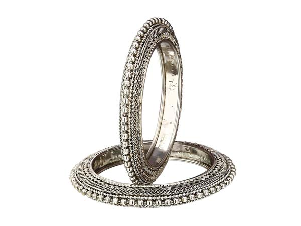 Silver Oxidised Kada Bangles Sasitrends Traditional Oxidized Silver Plated Bangles 1556006520530