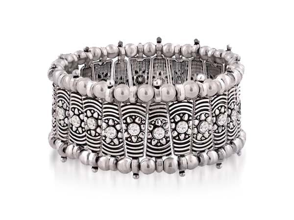 Silver Oxidised Kada Bangles ZIVOM Filigree Tribal Afghani Oxidised German Silver Stretchable Free Size Bangle Bracelet 1556009584259