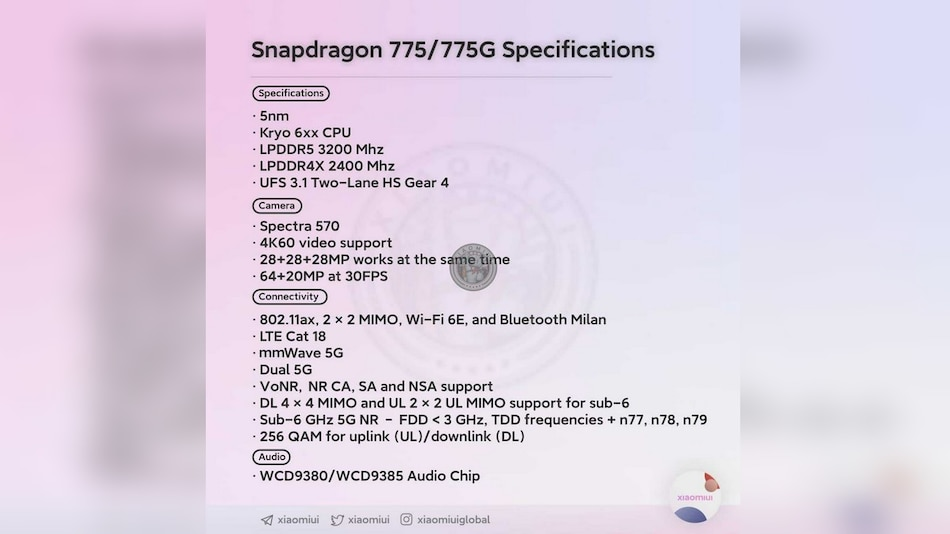 Qualcomm Snapdragon 775 Series Specifications Surface Online, Could Feature in Mi 11 Lite
