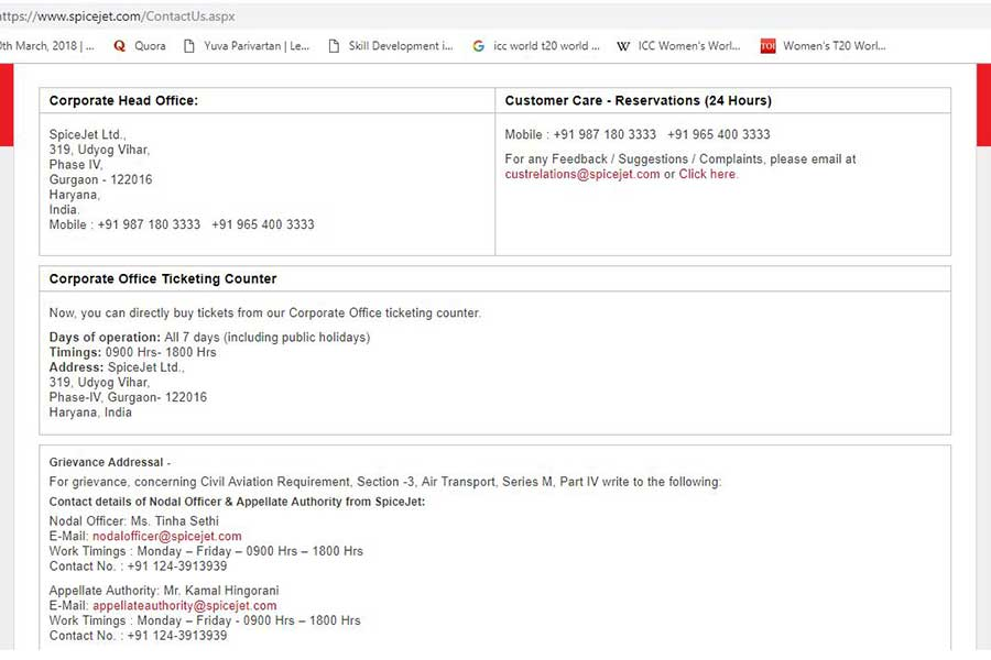 SpiceJet Customer Care Numbers Step 3 900