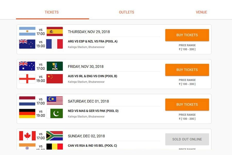 Book Tickets to Hockey World Cup 2018: Step 3