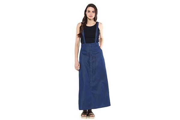 StyleStone 3213PinaforeSkirt Womens Denim Pinafore Skirt Dress 1611946877598