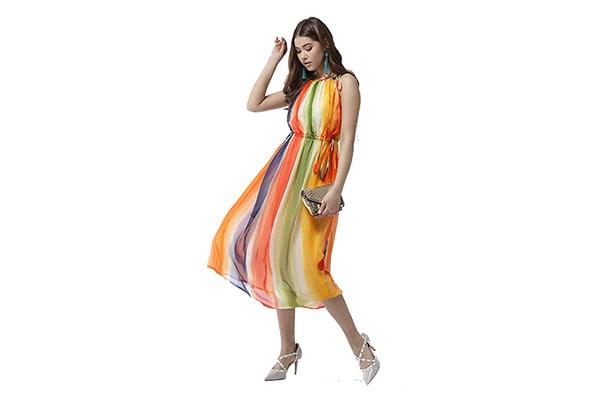 StyleStone Womens Chiffon Tie up Rainbow Print Maxi Dress 1 1613072122945