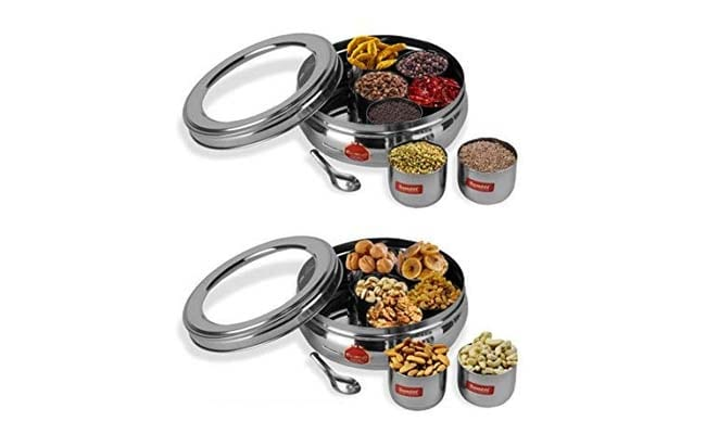 Sumeet Stainless Steel Belly Shape Spice Box 1560412803452