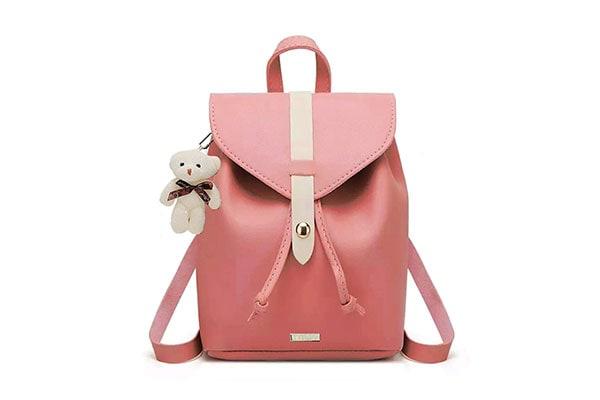 TYPIFY PU Leather Teddy Keychain Women Backpack 1613796125105