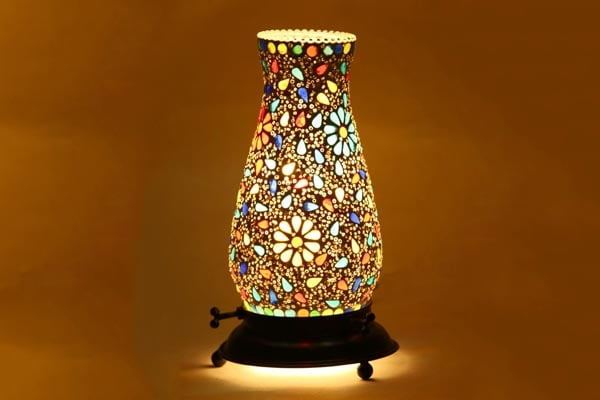 Mejilla Decorative Antique Tumbler Shaped Mosaic Table Lamp