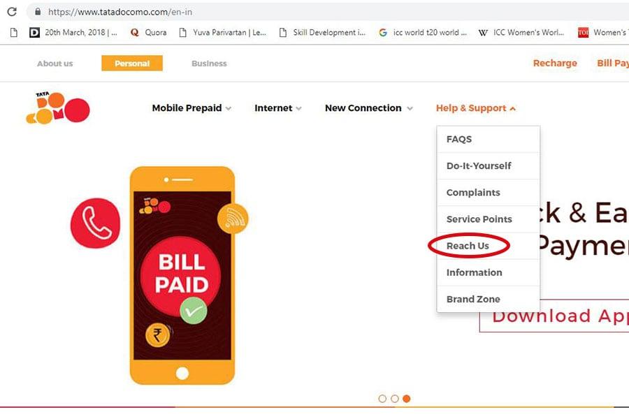 Tata Docomo Customer Care Number Step 3 900