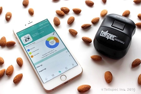 Tellspec food scanner with almonds