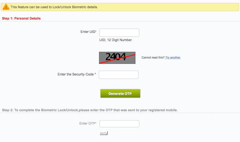 UIDAI aadhaar biometric lock sc Aadhaar