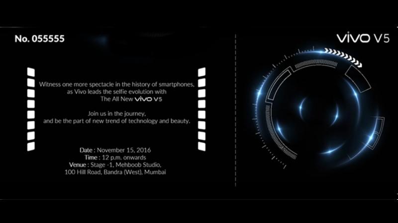 Vivo V5 India Launch Set for November 15