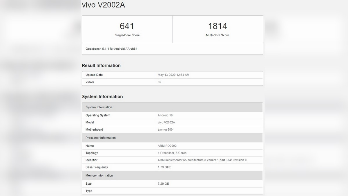 Vivo Y70s May Be the First Smartphone With the Unannounced Exynos 880 5G Chipset: Report