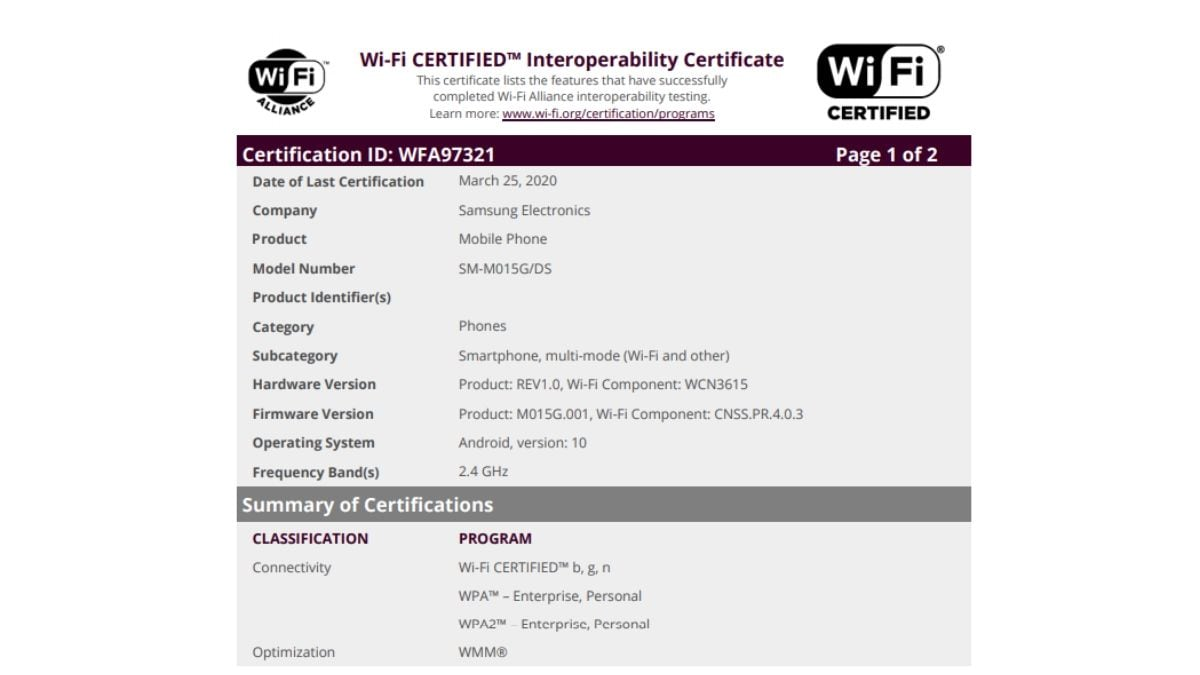 Samsung Galaxy M01 Spotted Receiving Wi-Fi Certification, Specifications Tipped