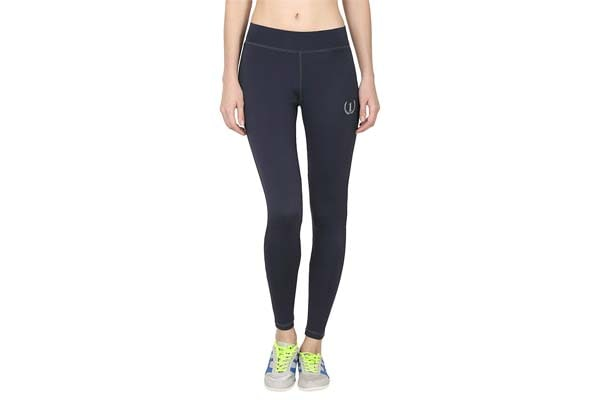 ONESPORT Dark Grey Solid Slim Fit Ankle Length Sports Tights for Women