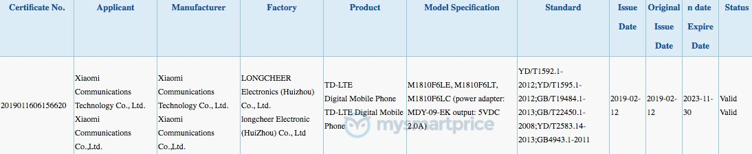 Xiaomi Redmi 7 3C Certification Xiaomi Redmi 7