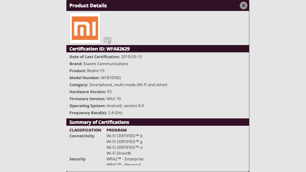 Redmi Y3 Spotted on Wi-Fi Certification Site, Listing Tips MIUI 10 Based on Android Pie
