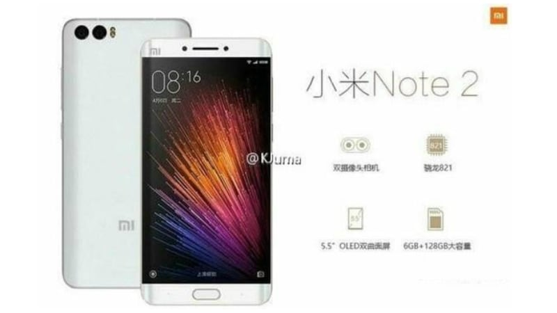 Xiaomi Mi Note 2 Leak Tips Dual-Edge Curved Display, Dual Camera Setup