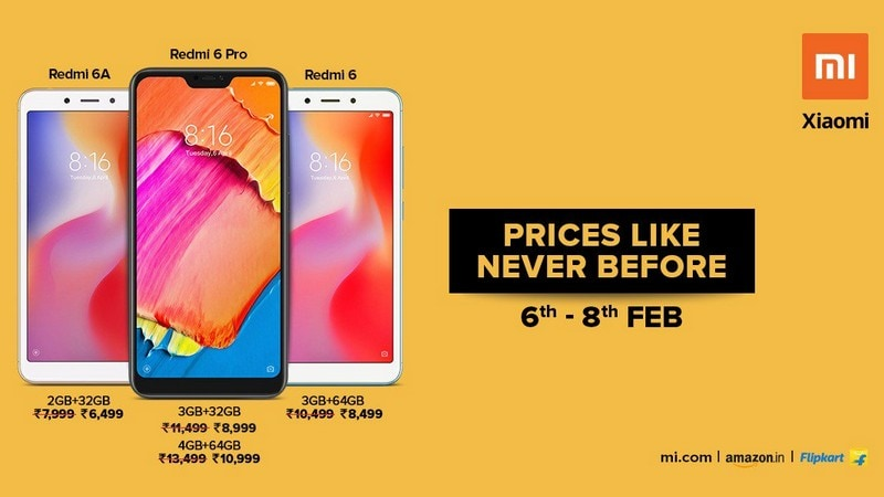 Redmi 6 Pro, Redmi 6, Redmi 6A Receive Temporary Price Cut in India