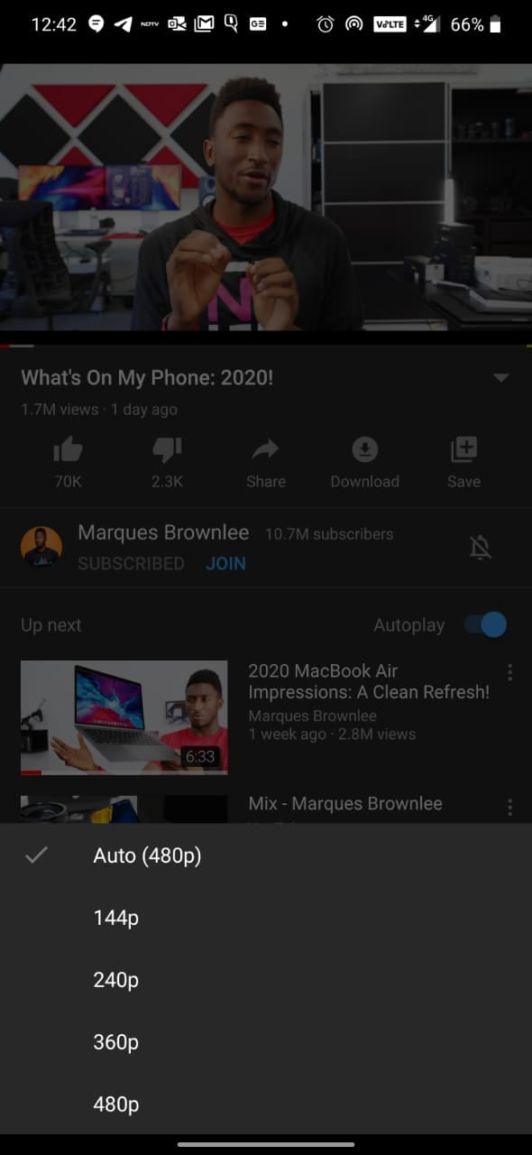 YouTube Quality Limit Android YouTube