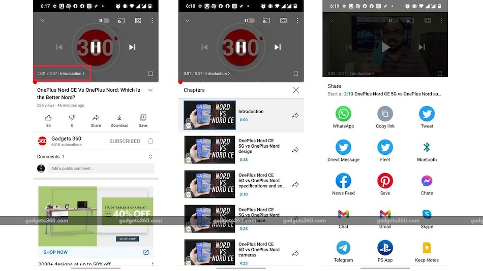 YouTube App on Android Now Lets You Share Chapters From Videos