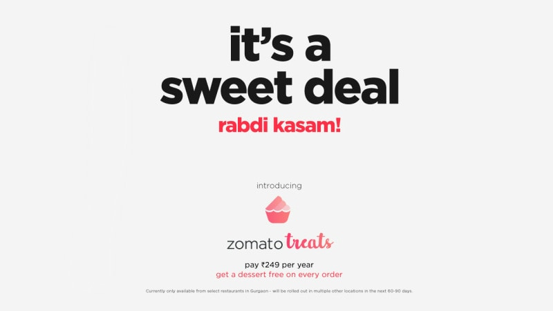 Zomato Treats 'Free Dessert' Subscription Launched in India, Priced at Rs. 249 per Year
