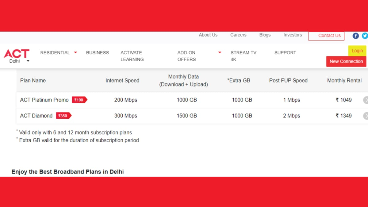 ACT Fibernet Broadband Plans Upgraded With Up to 300Mbps Speeds, More Data