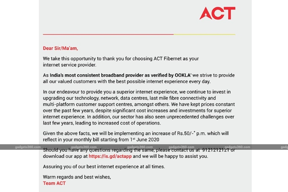 act fibernet increase rental image gadgets 360 1 ACT Fibernet