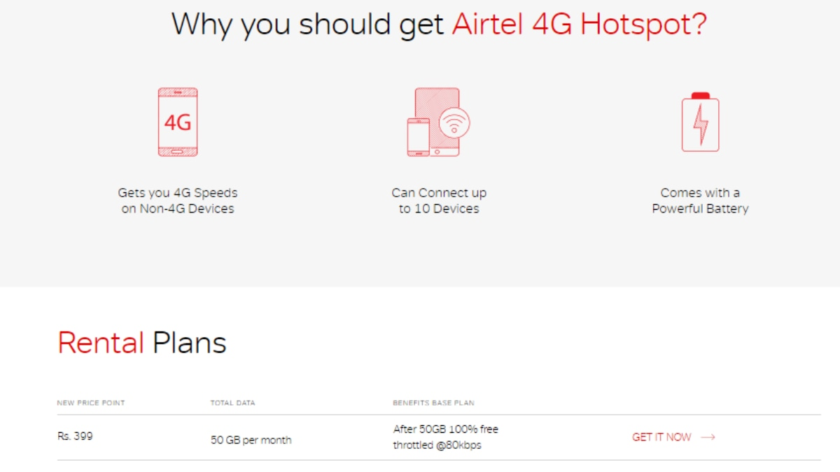 Airtel 4G Hotspot With 50GB Monthly Data Now Priced at Rs  399 per