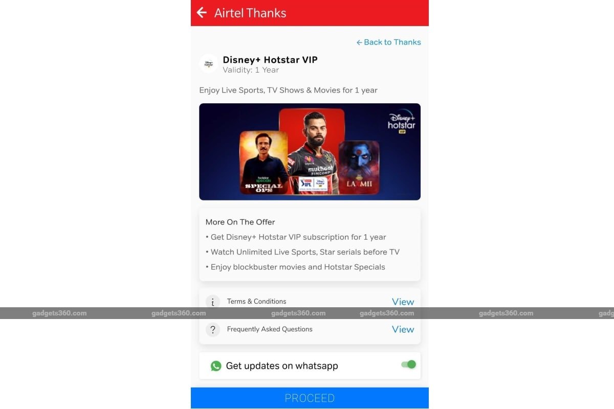 airtel disney plus hotstar vip offer screenshot gadgets 360 Airtel Disney Plus Hotstar VIP