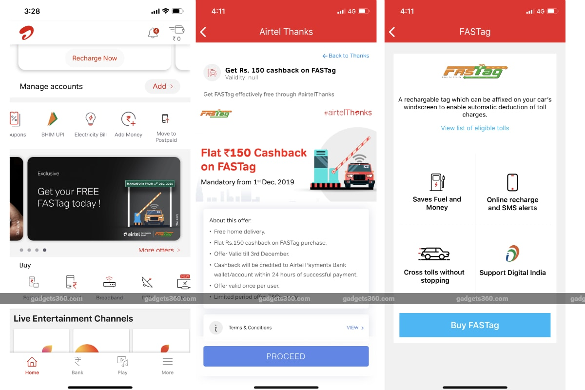 airtel fastag purchase gadgets 360 Airtel  Fastag