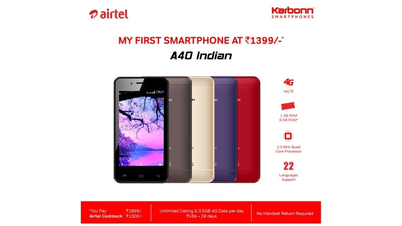 Airtel announces 4G smarthphone for an effective price of ₹1399