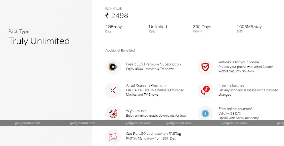 Airtel Rs. 2,498 Prepaid Recharge Plan With 2GB Daily Data, Free Zee5 Subscription Launched