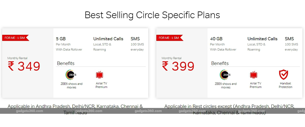 airtel rs 349 399 circle specific plans gadgets 360 Airtel
