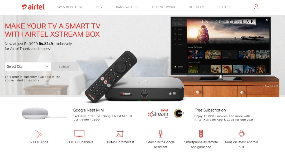 Airtel Thanks Promotion Offers Discounted Google Nest Mini to Xstream Box Buyers: All You Need to Know