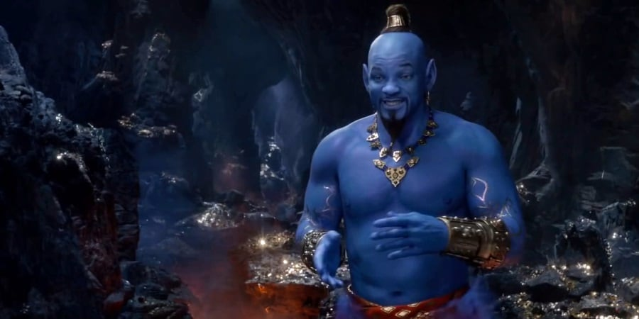 Aladdin Movie Trailer – Will Smith Appears in Blue Genie Avatar Form
