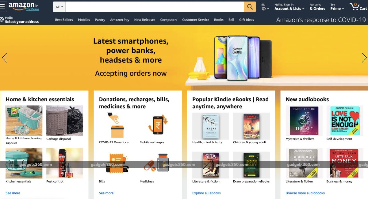 Amazon, Flipkart, Snapdeal, Paytm Start Taking Orders for Non-Essential Products, Including Phones, TVs, More