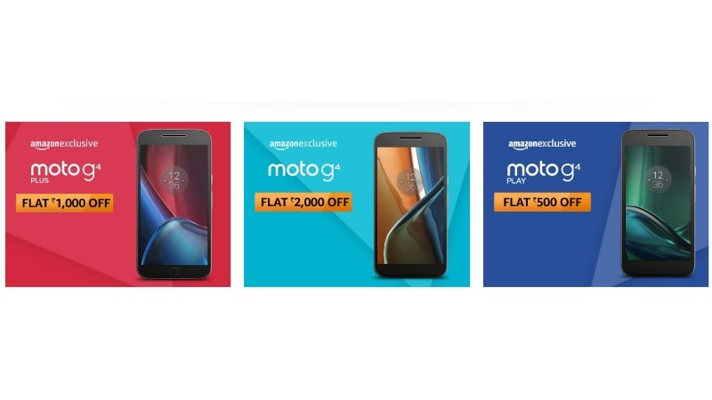 Moto G4, Moto G4 Plus, Moto G4 Play Get Limited Period Discounts, Cashback Offers on Amazon India