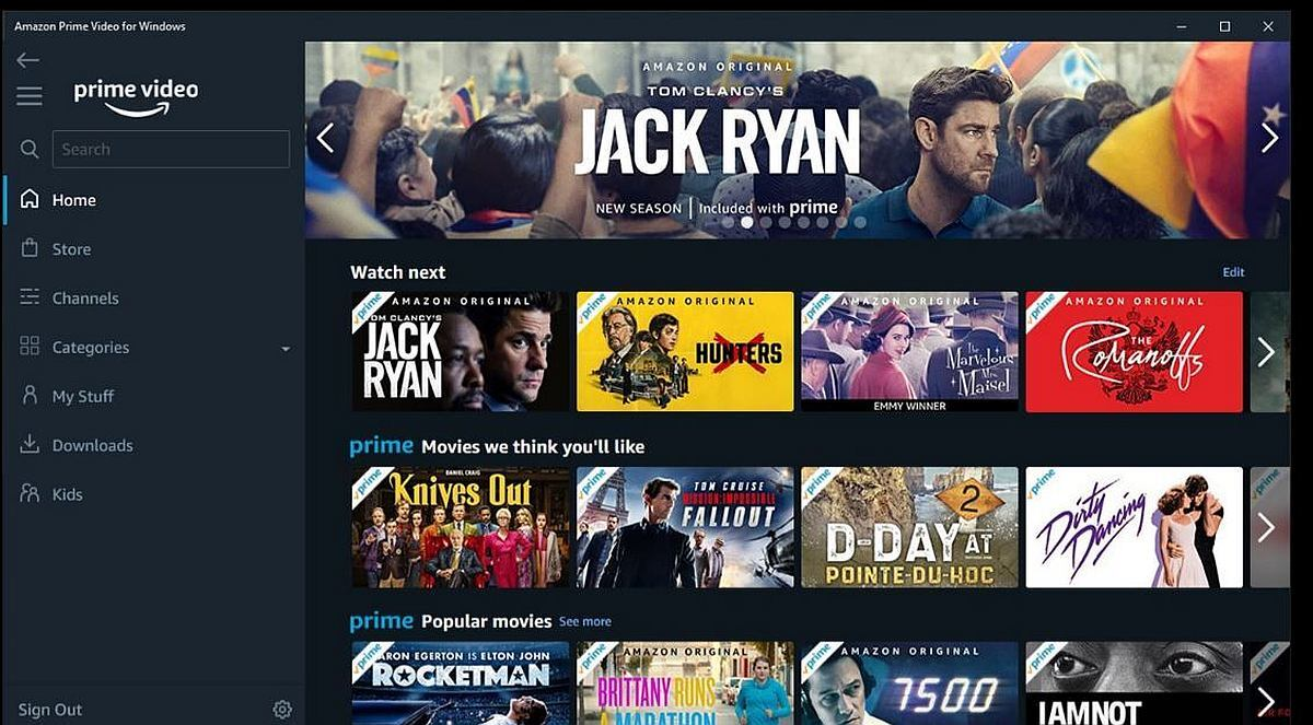 amazon prime video windows 10 interface Prime Video Screenshot
