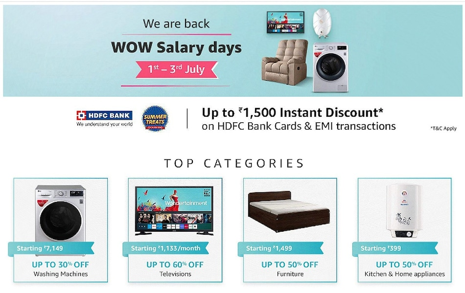 Amazon Wow Salary Days Sale Kicks Off With Up to 60 Percent Discount on TVs, Home Appliances, Other Offers