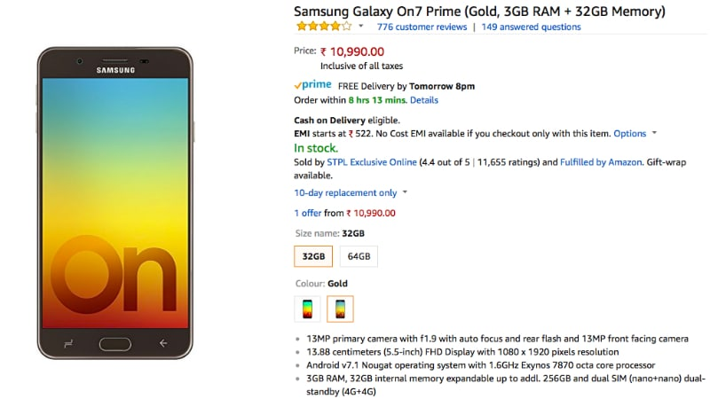 Samsung Galaxy On7 Prime, Galaxy A8+ Available With Discounts on Amazon