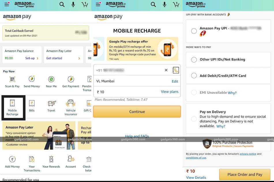 How To Recharge Mobile Through Amazon App Through UPI
