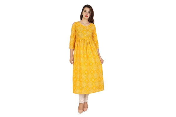 best anarkali suits in india Amayra Women Cotton Anarkali Kurti(Yellow)