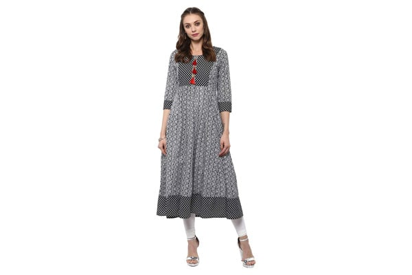 best anarkali suits in india Ayan White & Black Printed Cotton Anarkali With Tassel