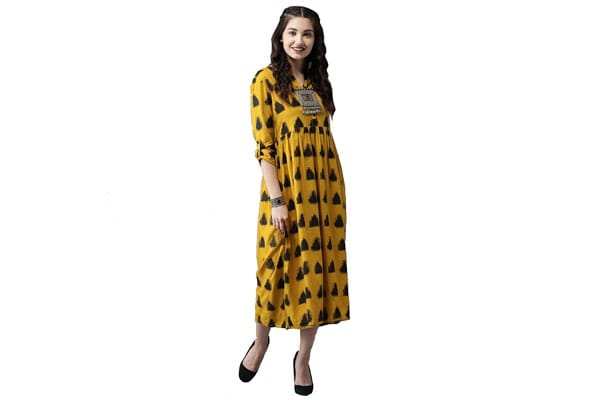 best anarkali suits in india Amayra Women Rayon Anarkali Kurti(Mustard)