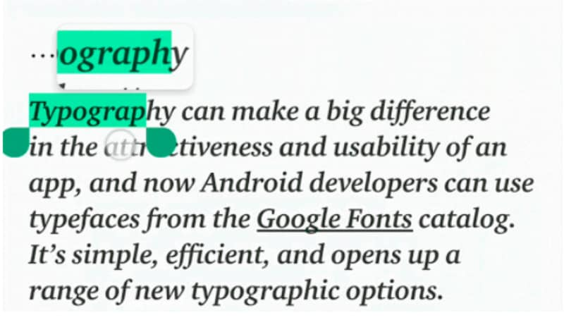 Android P's Text Magnifier to Make It Easier to Select and
