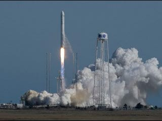 Antares Rocket Carrying Cygnus Spacecraft Filled With NASA Cargo for ISS