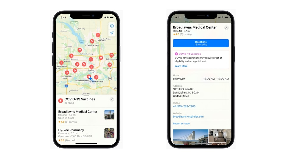 Apple Maps Now Shows COVID-19 Vaccination Centres in the US