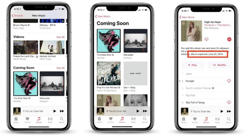 Apple Music Gets 'Coming Soon' Section, Upgrades Artist Profiles With a 'Featured Release' Section